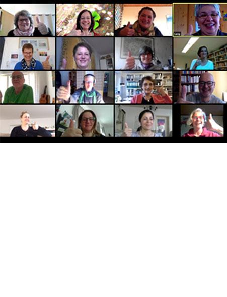 dieses Foto zeigt Teilnehmer*innen einer Videokonferenz