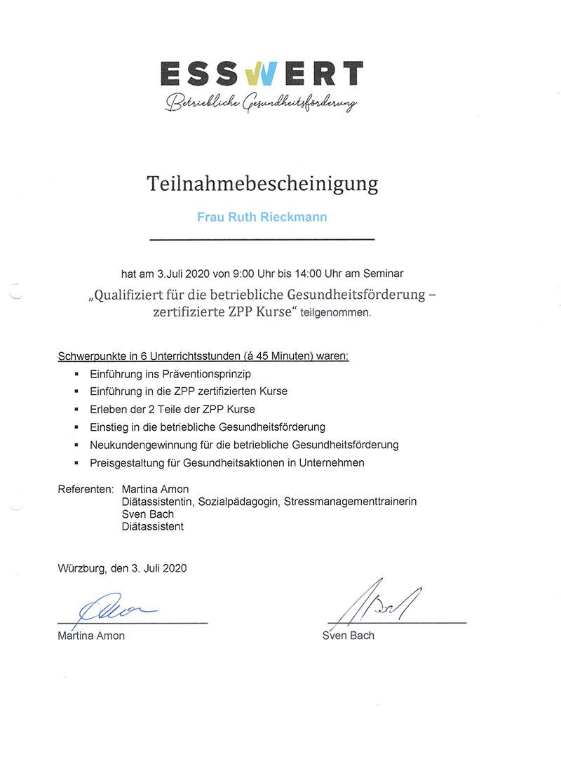 dieses Foto zeigt ein Zertifikat von Ruth Rieckmann